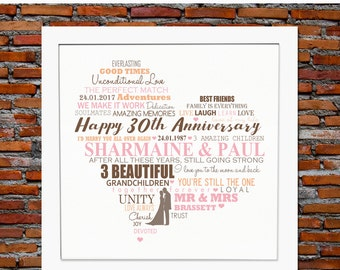 Personalized 30th anniversary - 30th wedding anniversary gift, 30th anniversary gift, wedding anniversary, anniversary gift for couple