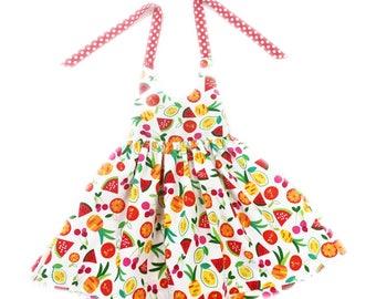 9 to 12 month fruit print halter dress toddler dress girls sun dress summer dress baby sundress party dress first birthday