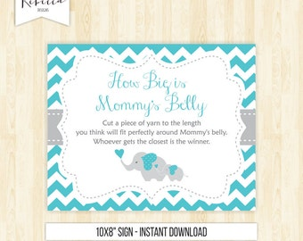 elephant baby shower game how big is mommys belly game boy guess the size string game baby shower activity turquoise game printable 118
