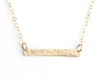 "Mini Initial Bar Necklace- Hammered, 1"", Gold Filled, Sterling Silver or Rose Gold Filled"