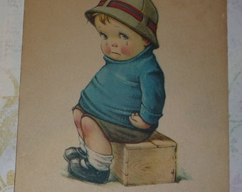 Chubby, Sad, Little Boy Whose Girlfriend Ditched Him U/S Charles Twelvetrees Antique Comic Postcard