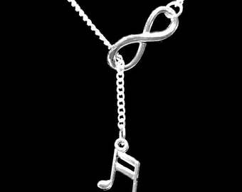 Musical Note I Love Music Treble Clef Marching Band Infinity Lariat Necklace