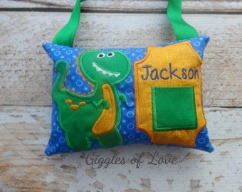 Personalized Tooth Fairy Pillow - Boy Girl Tooth Pillow - Dinosaur T-Rex Dino