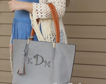 Monogrammed 2 in 1 Tassel Trim  Handbag/ Bucket Style Tote/Great Gift/ All Season Bag---SALE