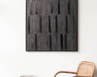 "Large Abstract Painting Original Painting Black Monochrome Minimalist Contemporary Art, Industrial Home Decor, Framed Ready to Hang 38""x 38"""