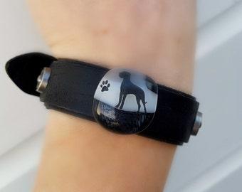 Great Dane fused glass snap bracelet