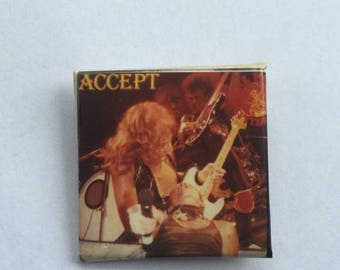 Accept Original 1980s Vintage Dead Stock Square Pin