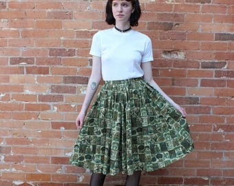 Homesewn Vintage 1950s Botanical Print Circle Skirt