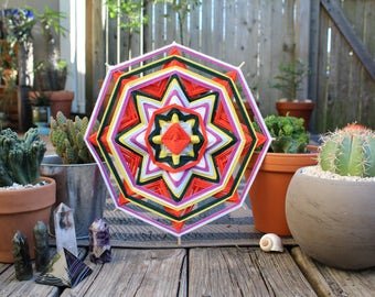 Happiness, a 12 inch, cotton yarn, mandala Ojo de Dios  by Raychal