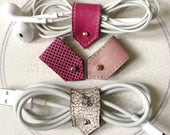 Cord Organizer | Leather Cable Holder | Cable Organizer | Cord Keeper | Earphone Organizer | iPhone Cord Holder | Pink Mix | Sets of 2 or 4