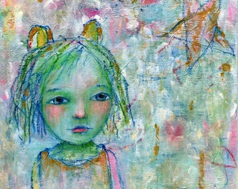 Sylvan, original painting 6x6in, cradled wood, mixed media girl