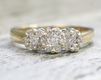 Vintage Floral 14K Gold Cluster Ring
