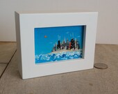 "Chicago skyline, mini painting with frame,  ""City on the Shore"" ooak,  three frame colors to choose from, Lake Michigan,"