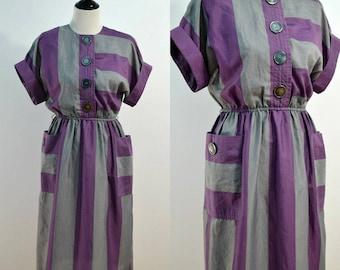1960s Purple Stripe Dress / 60s Vintage Leslie Fay Day Dress / Big Buttons / Oversized Top / Cuff Sleeve Dress / Dress with Pockets / S M