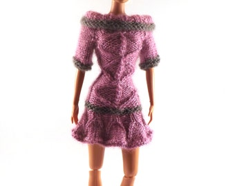 "Knit Barbie Clothes - Barbie Dress - Knit Cabled Party Dress for 11.5"" Barbie Doll - Keepsake Barbie Clothes - Hand Knit Barbie Outfits"