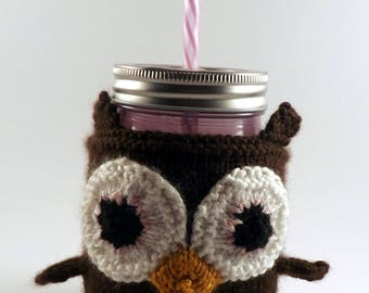 Knitted Owl Coffee Cozy - To-Go Sleeve - Knitted To-Go Sleeve - Knitted Coffee or Tea Cozy