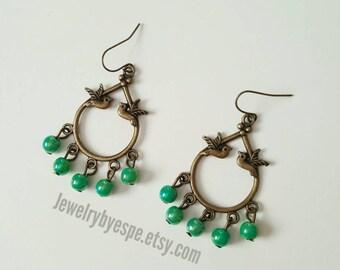 Green Earrings, Bird Earrings, Boho Earrings, Bohemian, Statement Earrings , Gypsy, Chunky,Green Rustic Wedding , Vintage Tribal