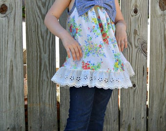 Girls floral vintage pillowcase dress