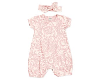 Special! Baby Girl Outfit, Newborn Girl Outfit, Baby Summer Outfit, Baby Girl Bubble Romper, Pink Floral Romper Headband RH520FQ000000