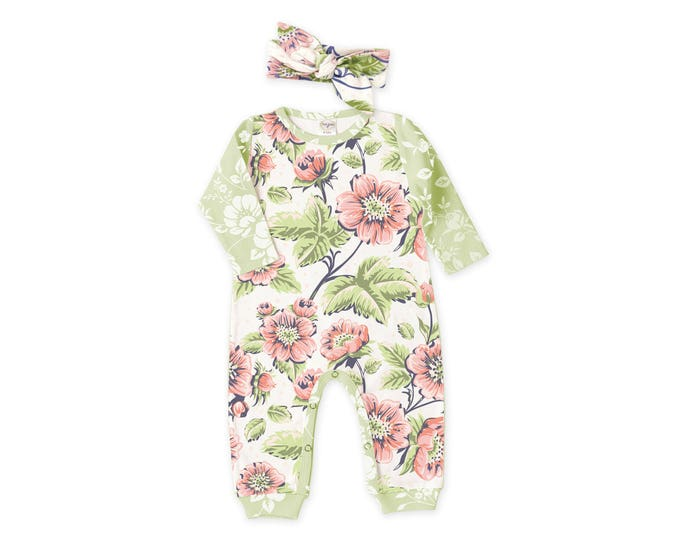 Summer Special! Newborn Girl Coming Home Outfit, Newborn Baby Girl Outfit, Newborn Girl Vintage Floral, Baby Romper, Headband, TesaBabe