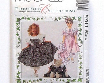 """McCall's Children's Dress and Pantaloons Sewing Pattern #5764 - Size 2 - + 27"""" Bear Doll w/Dress & Pantaloons McCall's Precious Collections"""
