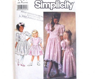 Simplicity Toddler Girls' Party Dress in 2 Lengths w/Trim Variations - Size 2+3+4 - (Bodice only cut to size 4 - Skirt is uncut)