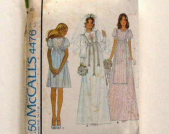 Vintage 70's McCall's Bride and Bridesmaid Dress w/Embroidery Transfer Sewing Pattern #4476 - UNCUT - Size 12 (bust 34)