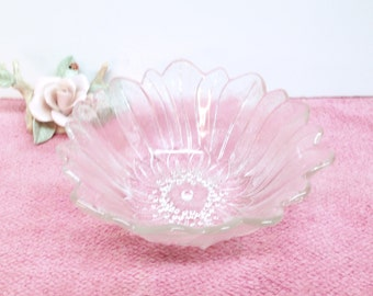 """LILY PONS BOWL is a 1930s Clear Crystal Carnival Glass 7"""" Nappy Bowl with an Iridescent Glow by Indiana Glass Co. in their Lily Pons Pattern"""