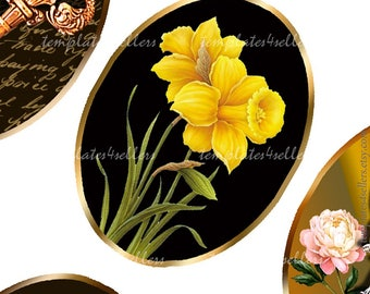 Digital Collage Sheet Flowers and Keys on Dark Background 30x40 mm oval images Scrapbooking Pendants Printable Original 4x6 inch sheet  402