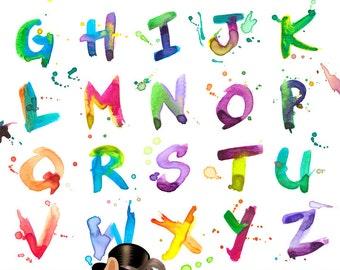 Watercolor Clip Art Alphabet 26 300 DPI Pngs