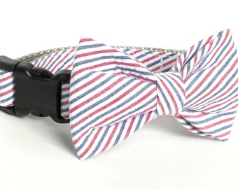 Americana Seersucker Dog Collar Bow Tie set, patriotic, pet bow tie, collar bow tie, wedding bow tie