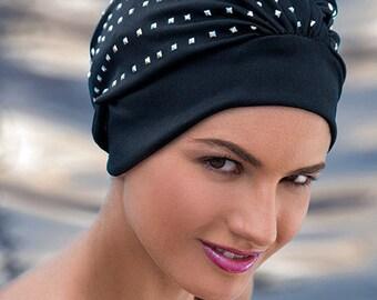 Retro Style Swim Cap - Fashy Turban Swim Hat - Black with Silver Studs Swimming Hat - Swim Cap - One Size  - Vintage Style Swim Cap