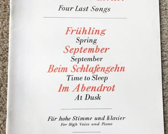 Richard Strauss, Vier Letzte Lieder, Frühling, September, Beim Schlafengehen, Im Abendrot, High Voice, Piano, Four Last Songs, Free Shipping