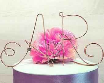 PERSONALIZED! Initial Wedding Cake topper with heart, aluminum wire wedding cake decoration, shabby chic wedding cake