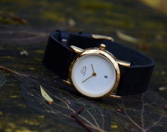 Birthday Gift, Leather Wrist Watch for Women, Womens Watch Gold, Ladies Watch, Gift for Her, Stylish Watch with Leather Strap, Lovely Gift