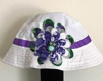 Girl's Hand-Decorated White Bucket Hat with Purple Owl