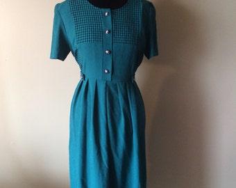 1990's Green Checkered Dress // Vintage Maxi Dress // Cute Green Long Dress