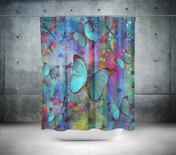 Boho Chic Dragonfly Butterfly Shower Curtain By Folkandfunky