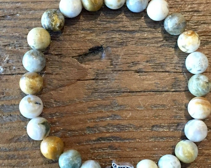 Mens Jasper Bracelet- Mens Stone Bracelet- Ocean Jasper Bracelet-  Beaded Mens Jasper Bracelet- 8mm Jasper Bracelet- Mens Gift- Fathers Day