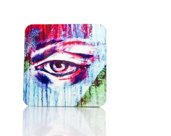 Eye Graffiti Coaster, Spitalfields London Coasters -Eye Art Coaster, Eye Print East London, Graffiti Art Drink Coasters -Modern Art Barware