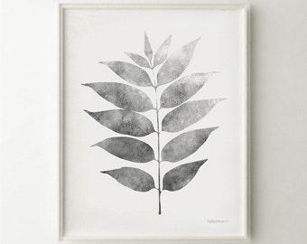 Grey leaf print, Grey Botanical art print Black and white Nature art printable, Grey artwork, White and Grey print, Grey wall art Download