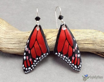 Fantasy red Monarch butterfly wing earrings, hand drawn butterfly wings, sterling silver, Austrian crystals.  Monarch wings. Red fairy wings