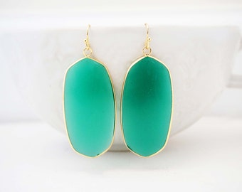 Jade Green and Gold Statement Earrings