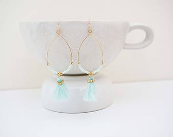 Light Blue and Gold Tassel Teardrop Earrings