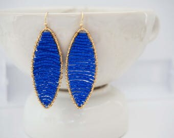 Blue and Gold Beaded Statement Earrings