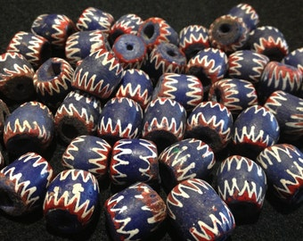 African Glass Chevron Beads 15 x 18mm