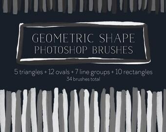 Geometric Shapes Photoshop Brush Set, Modern Blog Design Resource PNG PSD