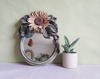 Antique 1910s barbola mirror • Art Nouveau wall mirror • sunflowers hanging mirror • floral mirror • bevelled mirror • green yellow mirror