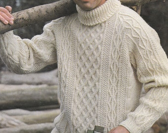 Vintage men's cable polo neck sweater turtle neck vintage knitting pattern pdf INSTANT download pattern only pdf