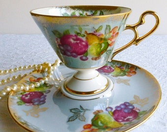 Vintage Royal Halsey L&M Fruit Motif Lusterware Teacup and Saucer, Made in Japan. Perfect for a Vintage Tea Party, Gift or Styling Prop